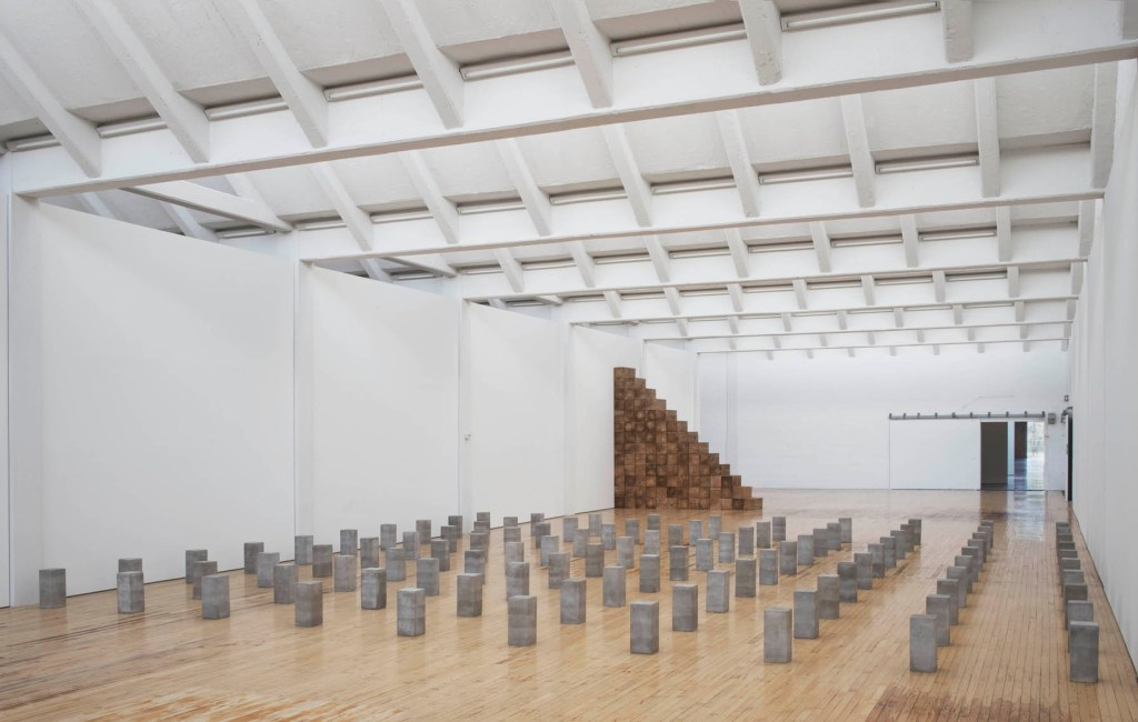Installation view, Carl Andre: Sculpture as Place, 1958–2010, Dia:Beacon, Riggio Galleries, Beacon, New York. May 5, 2014–March 2, 2015. Art © Carl Andre/Licensed by VAGA, New York, NY. Photo: Bill Jacobson Studio, New York. Courtesy Dia Art Foundation, New York.