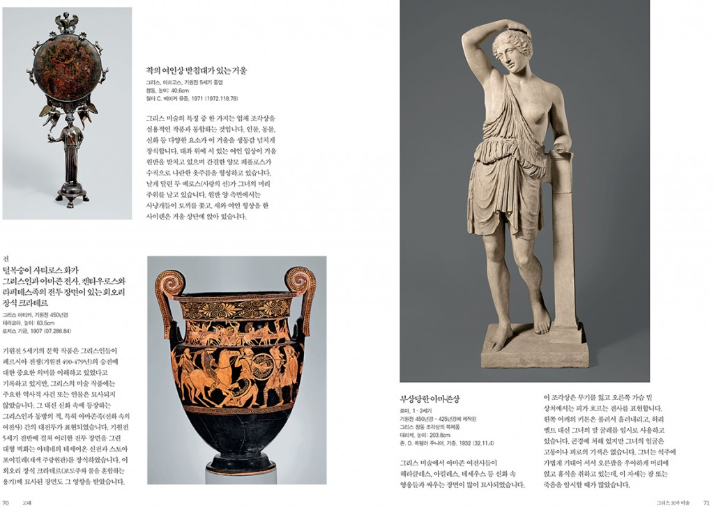 A spread from the Korean version of the The Metropolitan Museum of Art Guide