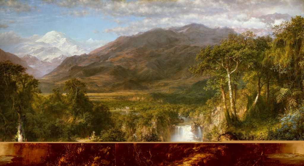 Frederic Edwin Church, The Heart of the Andes, 1859. Oil on canvas, 66 1/8 x 119 1/4 in. (168 x 302.9 cm). The Metropolitan Museum of Art, New York, Bequest of Margaret E. Dows, 1909, 09.95.