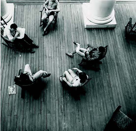 Students on a porch at Black Mountain College; image courtesy of the Western Regional Archives, State Archives of North Carolina.