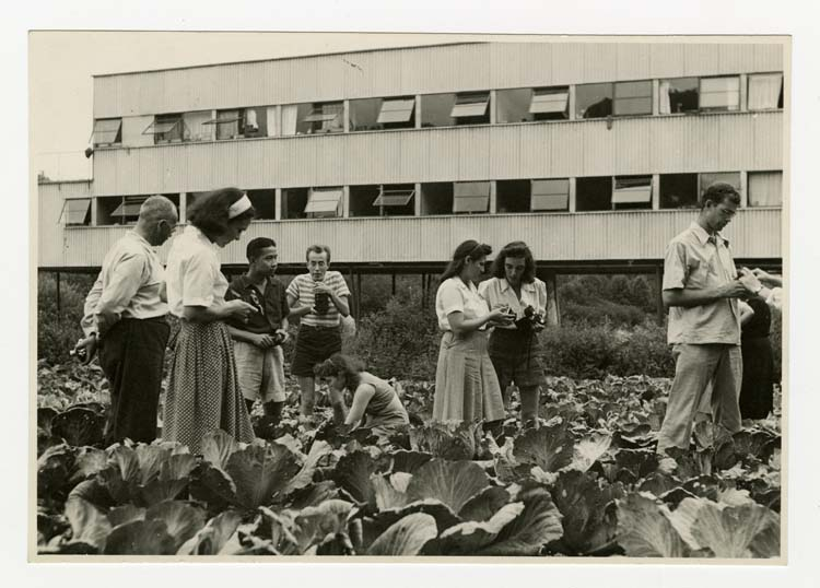 Photography class in cabbage patch. n.d. Photo by Barbara Morgan