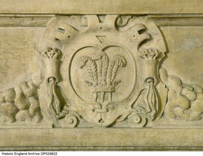 The Prince of Wales feathers on the chimneypiece of the Duke's Chamber at Apethorpe.