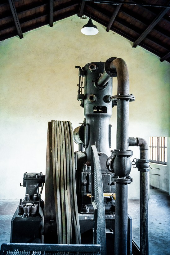 The Sullivan air compressor, from early XXth century, Montevecchio mine. Still working nowadays, with its 10124 Watts Sullivan could give power to the compressed-air mining machinery of Montevecchio.