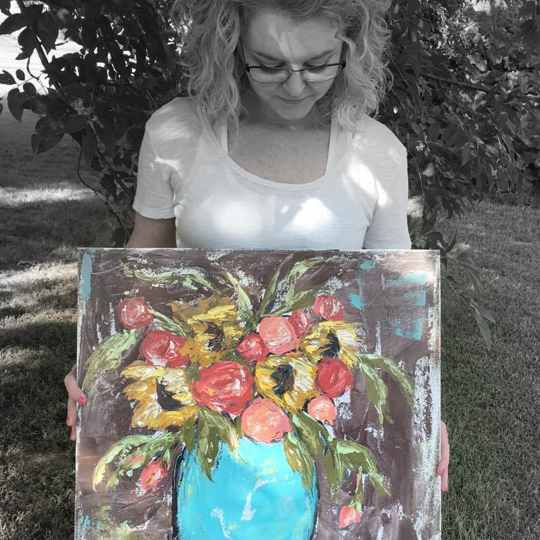 Floral painting by Amanda Hilburn using a palette knife.