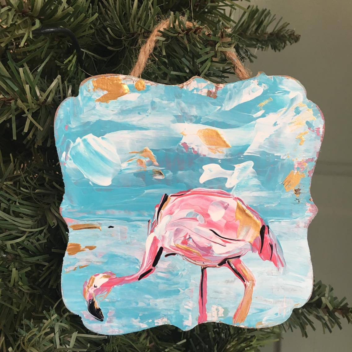 Flamingo lovers Christmas ornament. One of a kind ornament exclusively at The Little Bluebird Gallery | Art by Amanda Hilburn #flamingo #flamingoes #christmas #ornament #bird