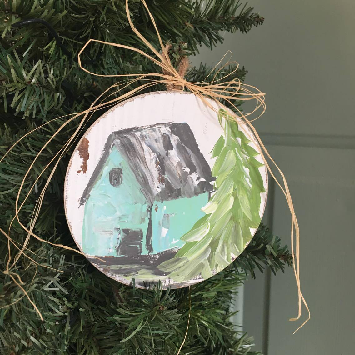 This turquoise barn will be perfect for your shabby chic Christmas tree! Grab this one of a kind ornament exclusively at The Little Bluebird Gallery | Art by Amanda Hilburn #barnornament #barn #turquoisebarn #shabbychic