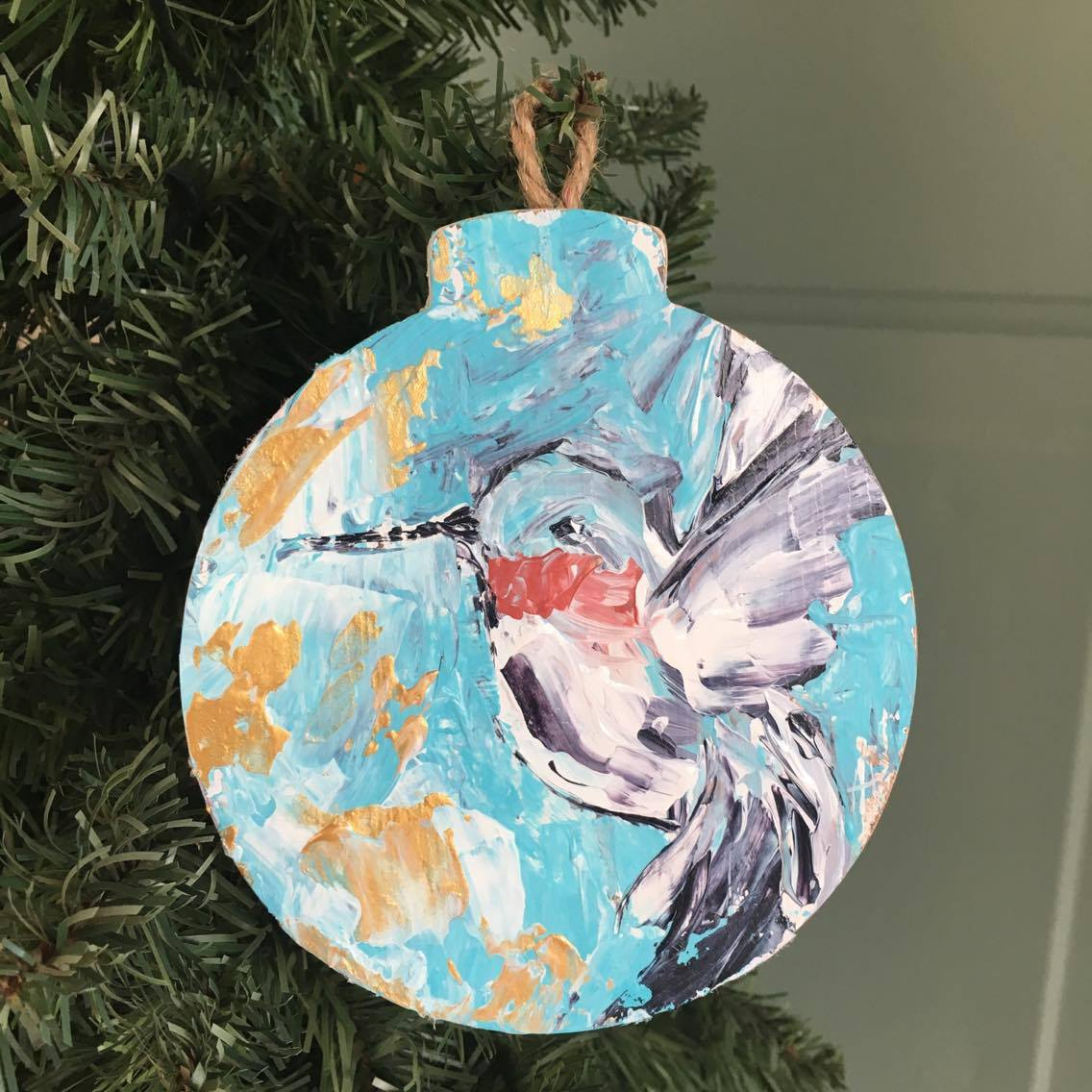 One of a kind, hand painted hummingbird ornament. Exclusively at The Little Bluebird Gallery | Art by Amanda Hilburn #hummingbird #ornament #bird