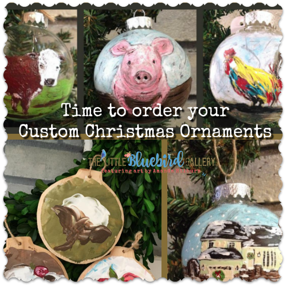 Order your own one of a kind, custom Christmas ornament today! Exclusively at The Little Bluebird Gallery | Art by Amanda Hilburn #custom #handpainted #christmasornaments #customart