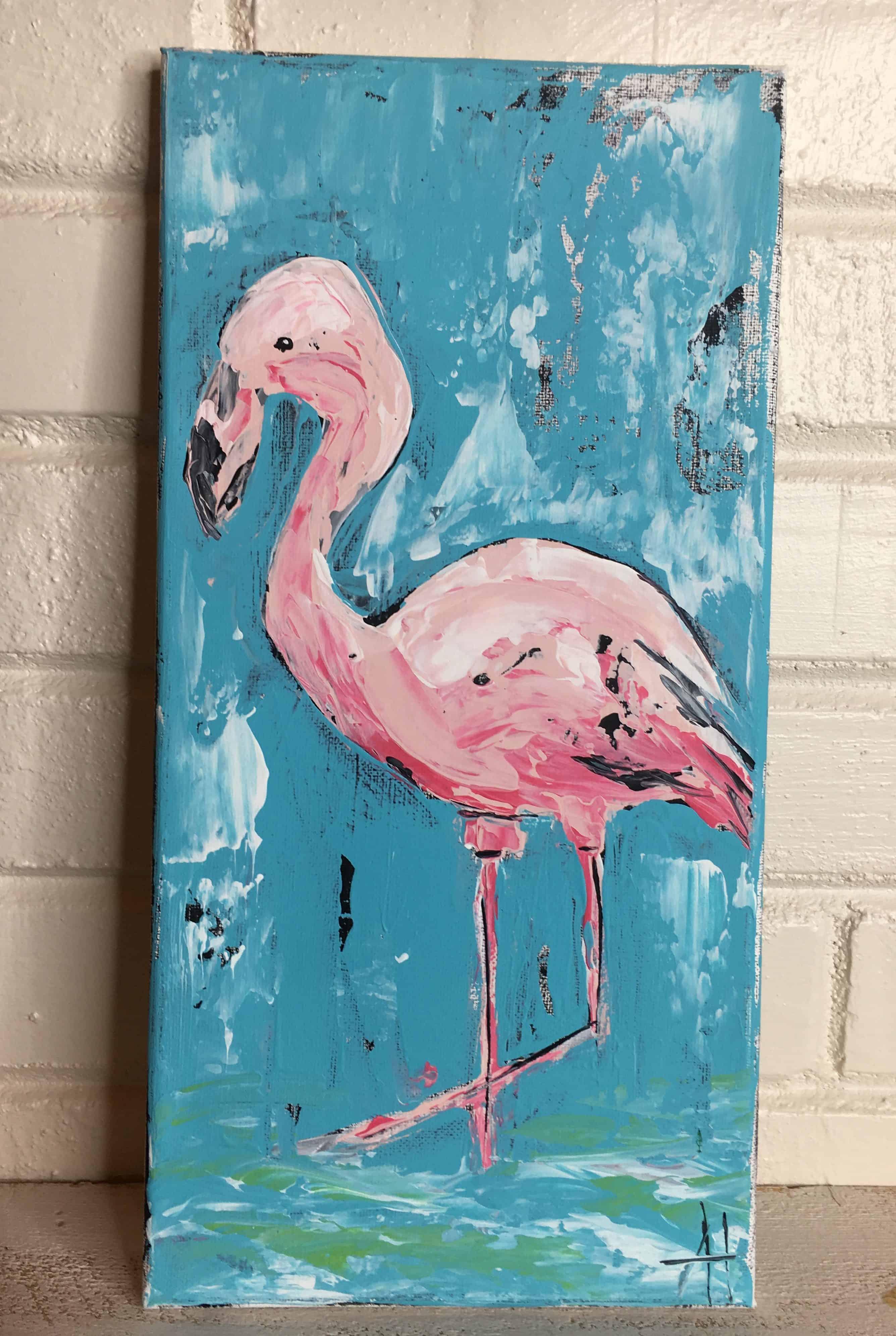 Flamingo Joe; Original Acrylic Painting