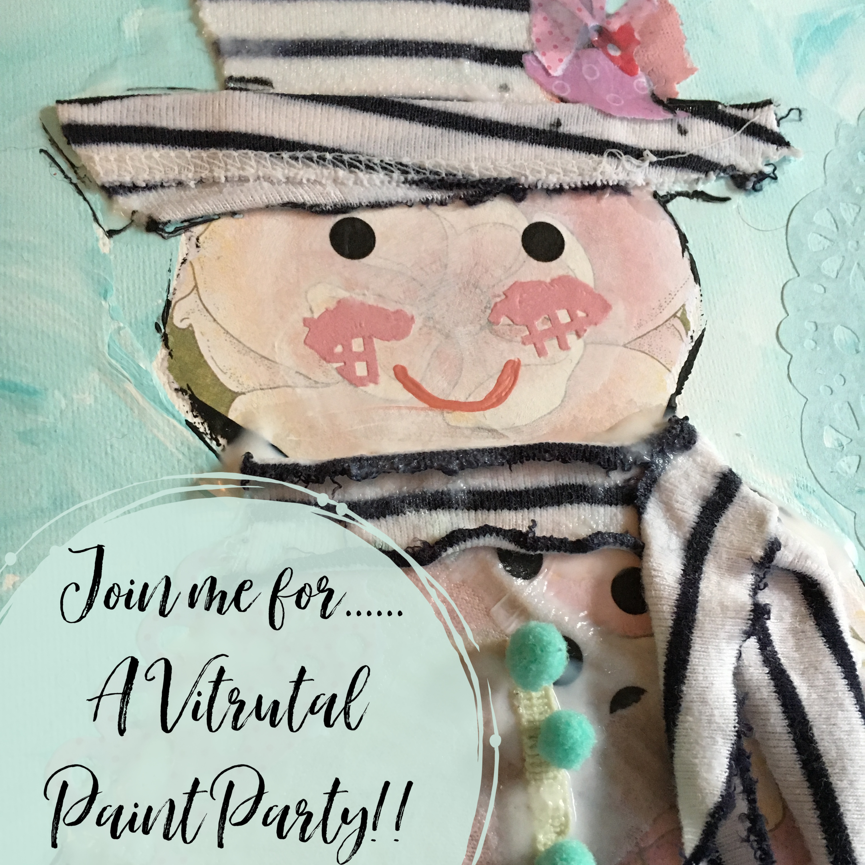 Tattered Snowman Virtual Paint Party