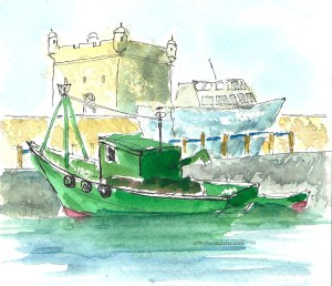 Essaouira harbor boats