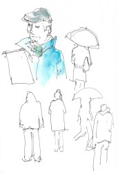 At Forcalquier, in the rain- first lesson in people sketching.