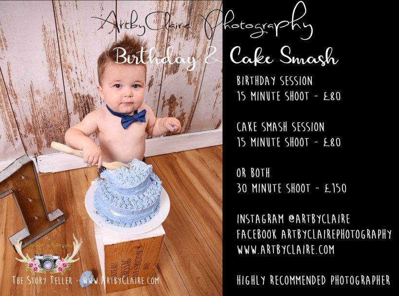 ArtbyClaire Photography specialises in these cracking little shoots are such a fun way to celebrate a first birthday - either book both shoots together or do as a separate first birthday shoot or a cake smash. Its great fun seeing them get their hands/face/feet all mucky and their reactions to what is most likely their first cake experience! Open to any age