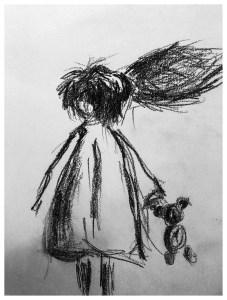 Sketch: Paper. 28x20 cm - Någons barndom pågår här II