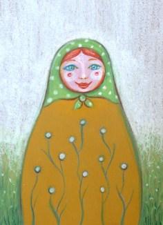 Matryoshka polka dot green hood 13 18