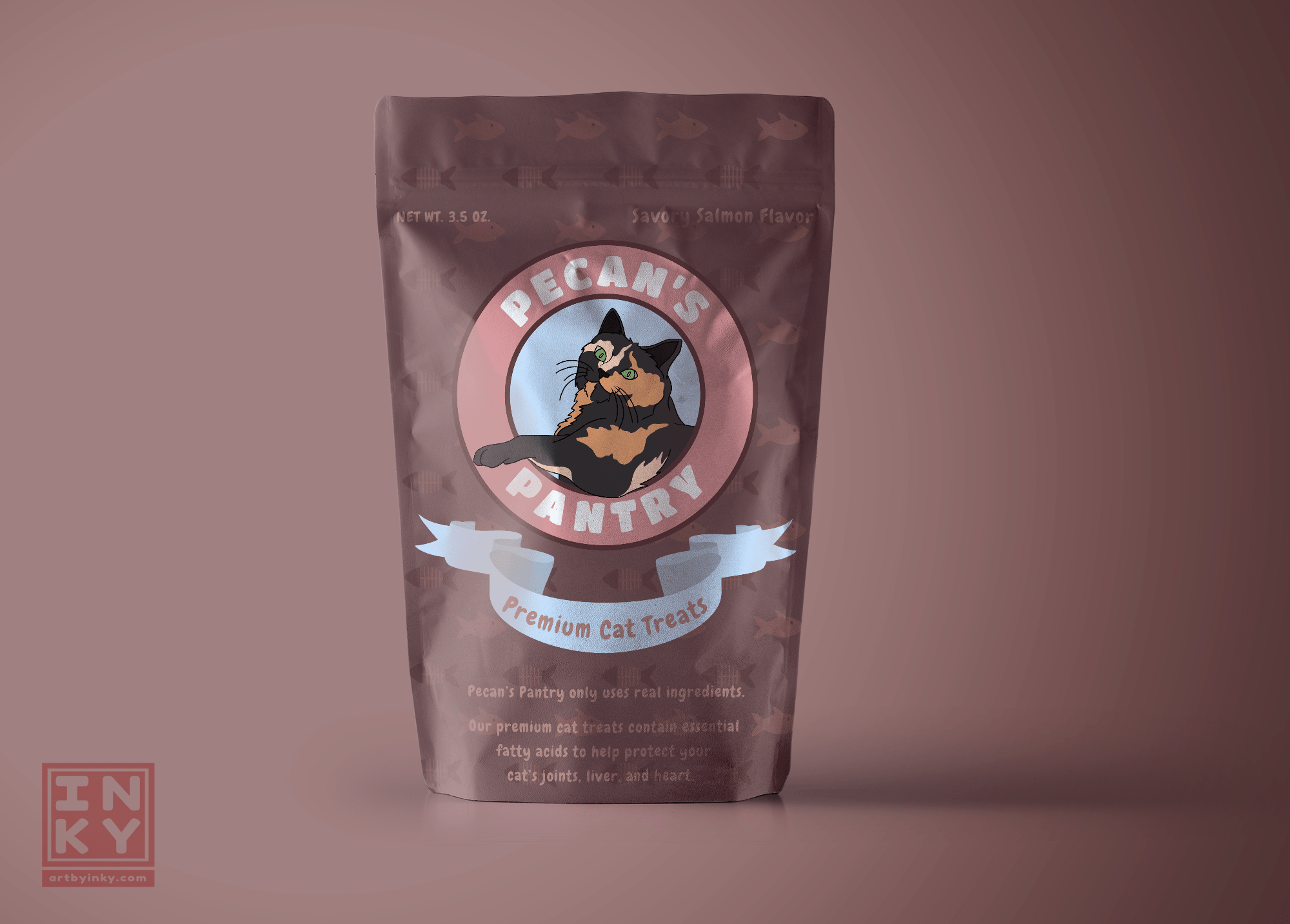 A packaging mockup of Pecan's Pantry, a fictional business, created by Aleesha Lindstrom