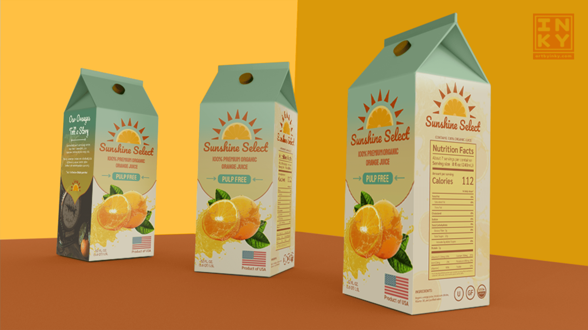 A packaging mockup of Sunshine Select, a fictional business, created by Aleesha Lindstrom