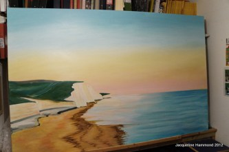 Commissioned seascape painting in progress. Using a glazing technique I've since applied more layers and toned down, blended more depth into the sky.