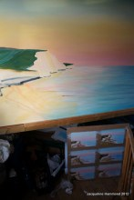 Commissioned seascape painting in progress. With preliminary sketch paintings below.