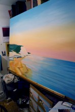 Commissioned seascape painting in progress.