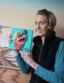 Artist Jacqueline Hammond with her submission for charity art auction Star on Canvas in aid of The Willow Foundation