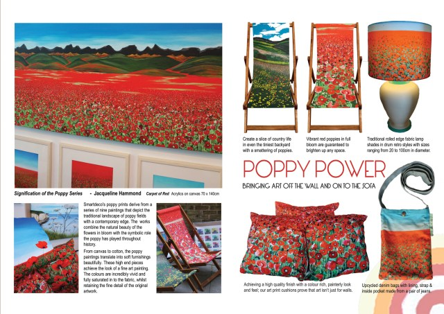 Poppy print fabric, prints and paintings by Jacqueline Hammond
