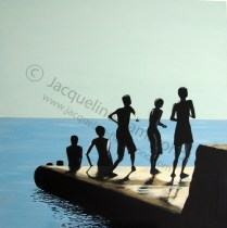 Sit and Throw - painting by Jacqueline Hammond 100x100cm Acrylics