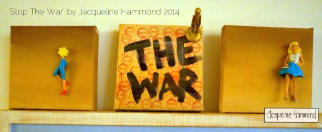 Stop the War - Painting triptych by Jacqueline Hammond. Work in progress