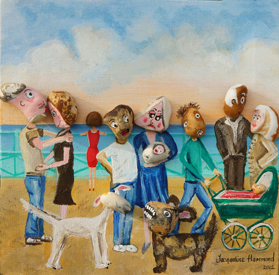 The painting I've created depicts a day 'Beside the Seaside' here in Brighton. I have used several pebbles 'stolen' from the beach as heads for the people (and dogs) taking a stroll along the promenade. I look for natural markings, chips and contours on the pebbles that can be used to resemble facial, hair and head gear type features. A hole in the pebble becomes a mouth, a chipped area separates the face from the hair and so on. Sometimes I paint on a face, sometimes I need do no more than a dot for an eye.