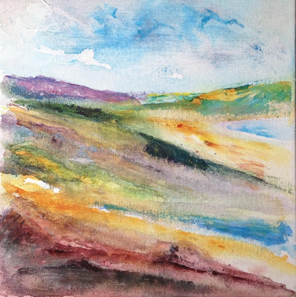 colourful textured mixed media landscape