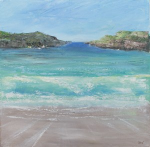 textured oil painting of a seascape