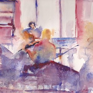 framed watercolour of a night of Irish music in a pub