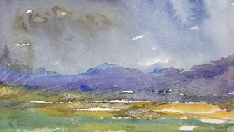 A close up of a watercolour painting of the Irish landscape. This image shows my signature stormy blue sky. I find this colour exhilerating and it definitley shows me that 'colour is a power that directly influences the soul'.