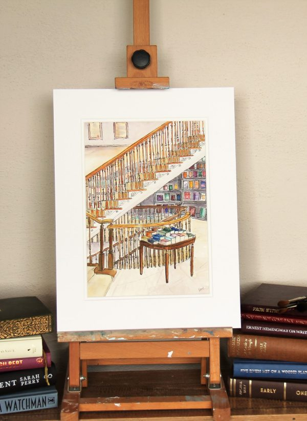 mounted watercolour of the Central Staircase in Hatchards