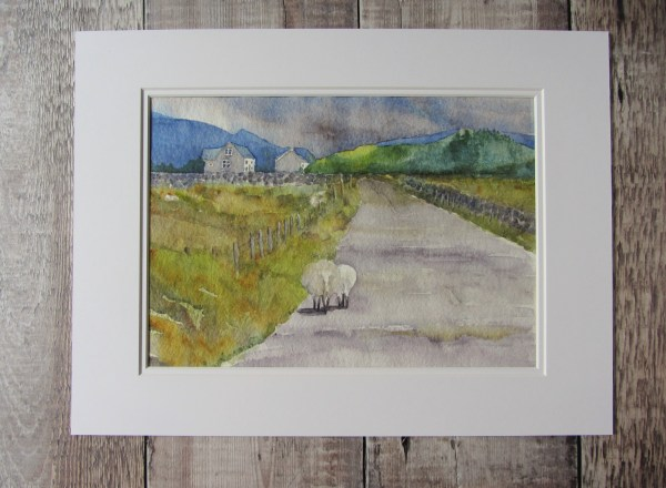 Watercolour Painting of Two sheep walking side by side down an empty country lane towards the mountains mounted in a soft white double mount.