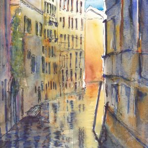 A warm and colourful watercolour of a canal in the 'back streets' of Venice. Mounted in a double mount, this painting is full of light and texture.