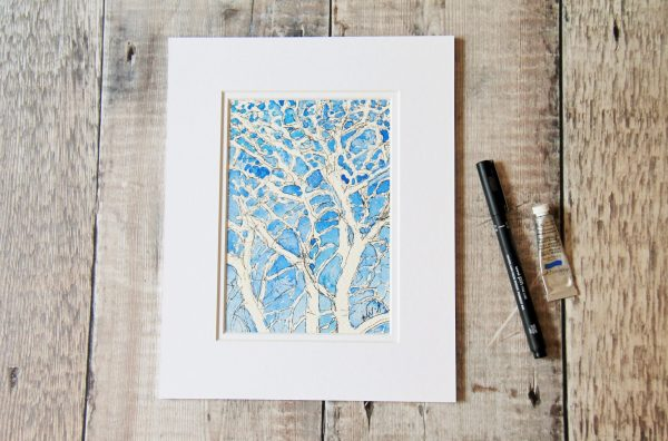 Bare winter trees against a blue sky. Created by drawing the negative space. Pen and wash 10x8 inches