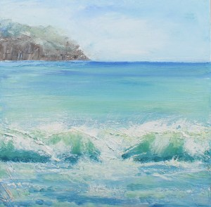 oil painting by laura wilson. Inspired by the Dingle peninsular. big rolling waves from the atlantic crash onto the shore.