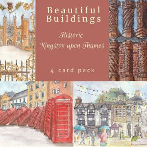 Image showing the 4 designs in the historic Kingston upon Thames card pack. Including Hampton Court Palace, Tudor Chimneys, Red telephone box art installation and the Old Town Hall.