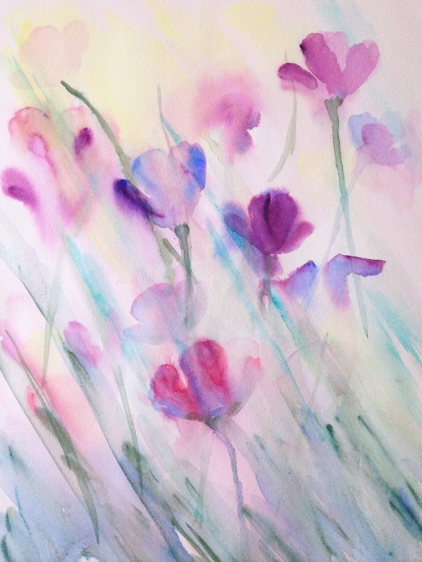 Greetings card of pink and purple poppies painted in flowing watercolour. It is a calming and serene image