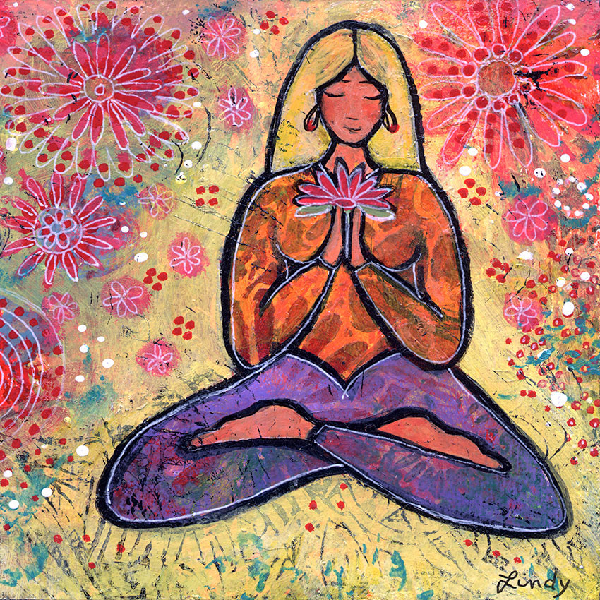Blonde Haired Yoga Girl painting