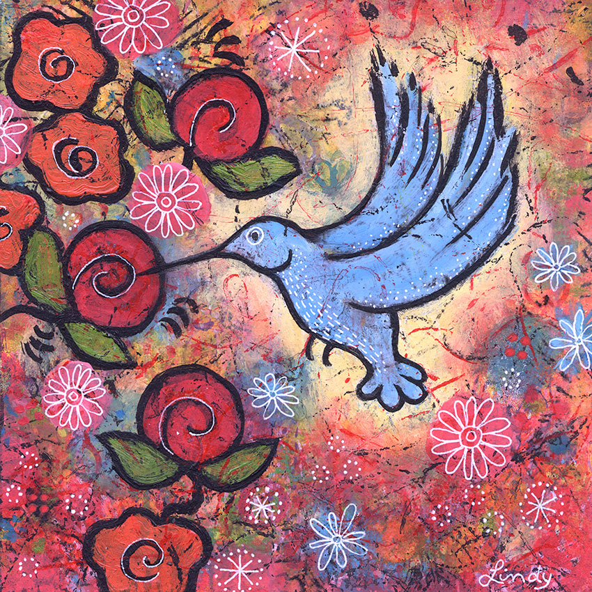 blue hummingbird painting