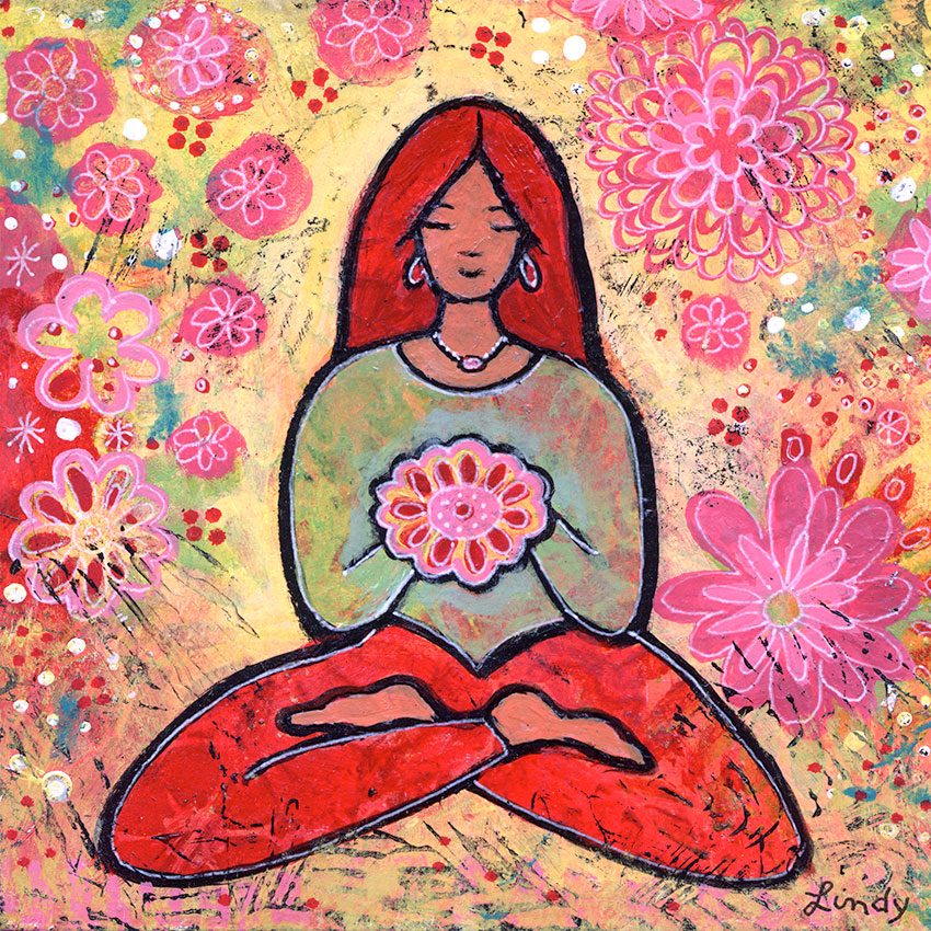 red haired yoga girl painting by Lindy Gaskill