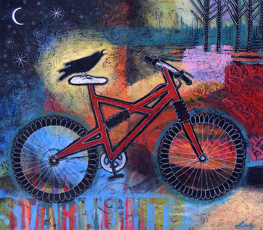 bike and bird painting by Lindy Gaskill