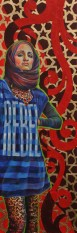 "Completed painting. ""Rebel"" 20""x60"" Acrylic paint, gold leaf, rhinestones on canvas"