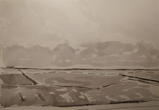 Dutch coast landscape, pen & ink, Ingrid