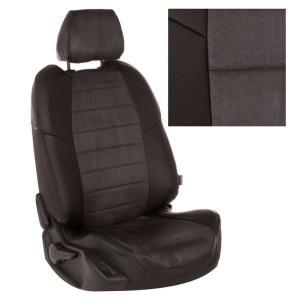 Авточехлы для LADA Largus (5 мест) (задняя спинка сплошная) экокожа с алькантарой