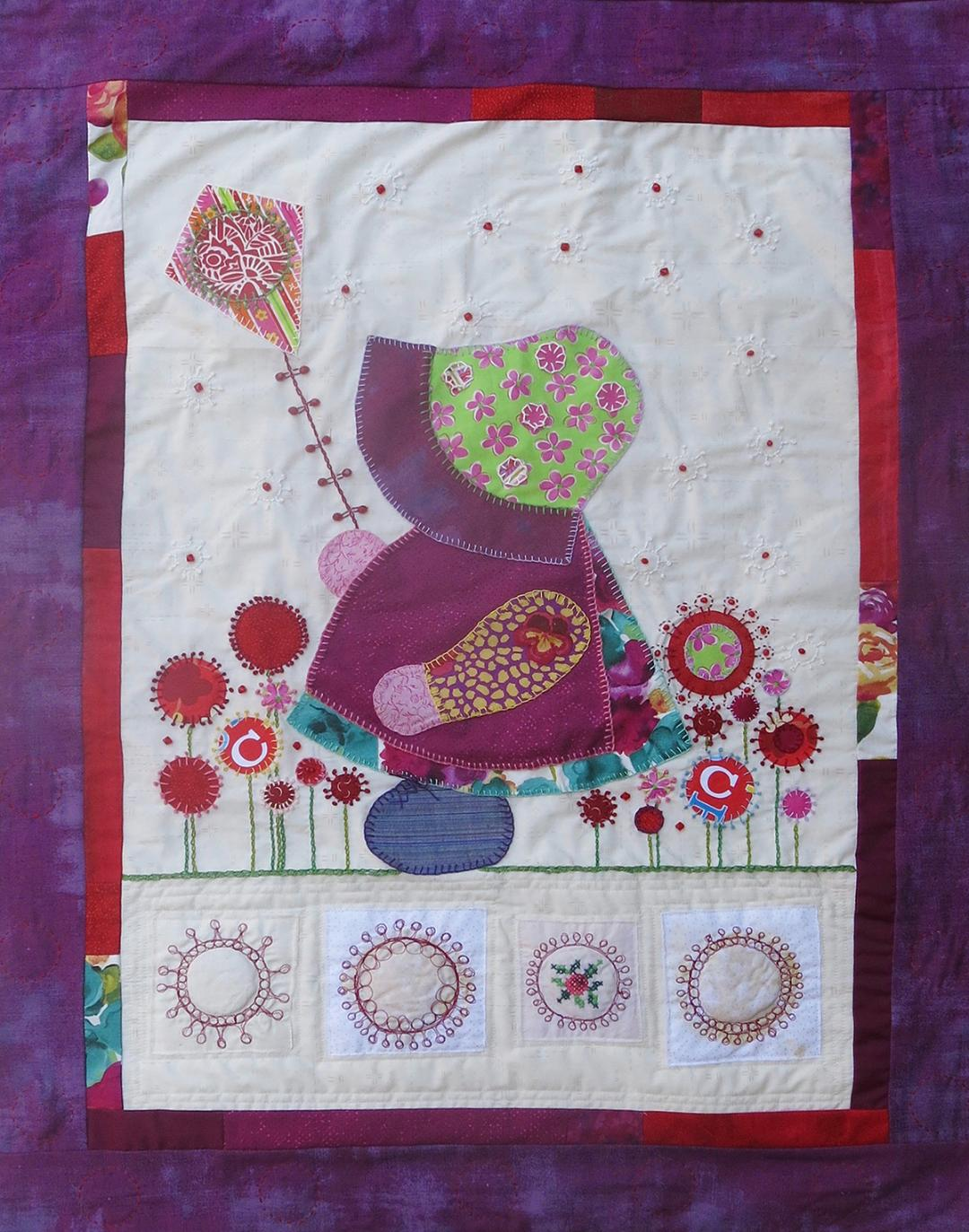 Sunbonnet Sue in the Garden of Coronavirus - Ellen November - Fabric hand embroidered