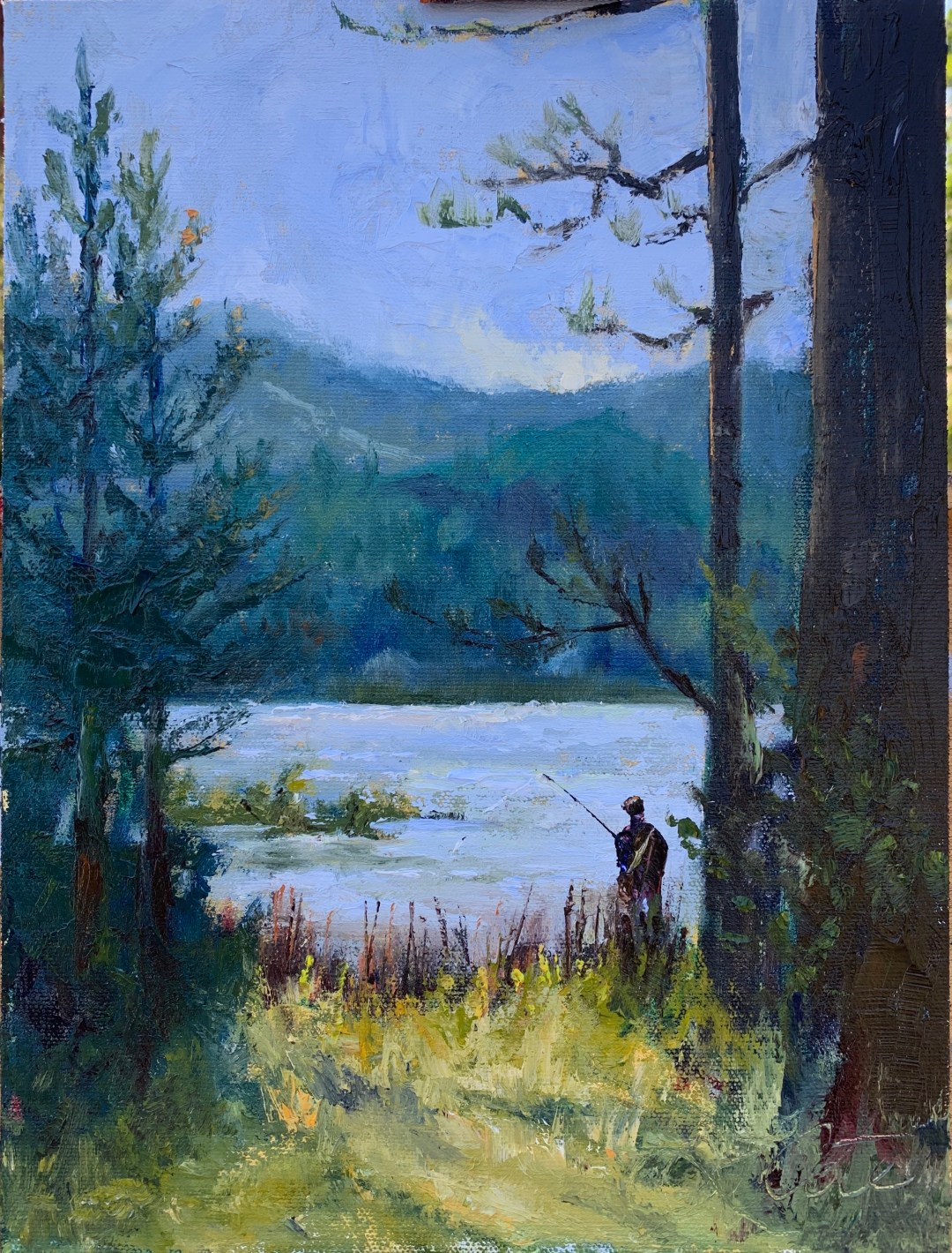 """Attached is an image of a painting I did at Bass Lake 2 weeks ago while traveling to the valley for my husband's work. I've been struggling to pick up my brushes while sheltering at home, but a little opportunity to do some plein air work restored my creativity. Thank you for providing a virtual gallery to support local SLO artists. """"The Early Bird"""" Oil on linen (Raymar archival panel) 9*12 by Lorraine Cote"""
