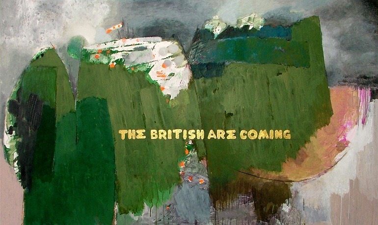 Image- The British Are Coming 2010, a Mixed Media painting on Panel by Hamdi Attia references Paul Revere's ride questioning the role of storytelling and photojournalism